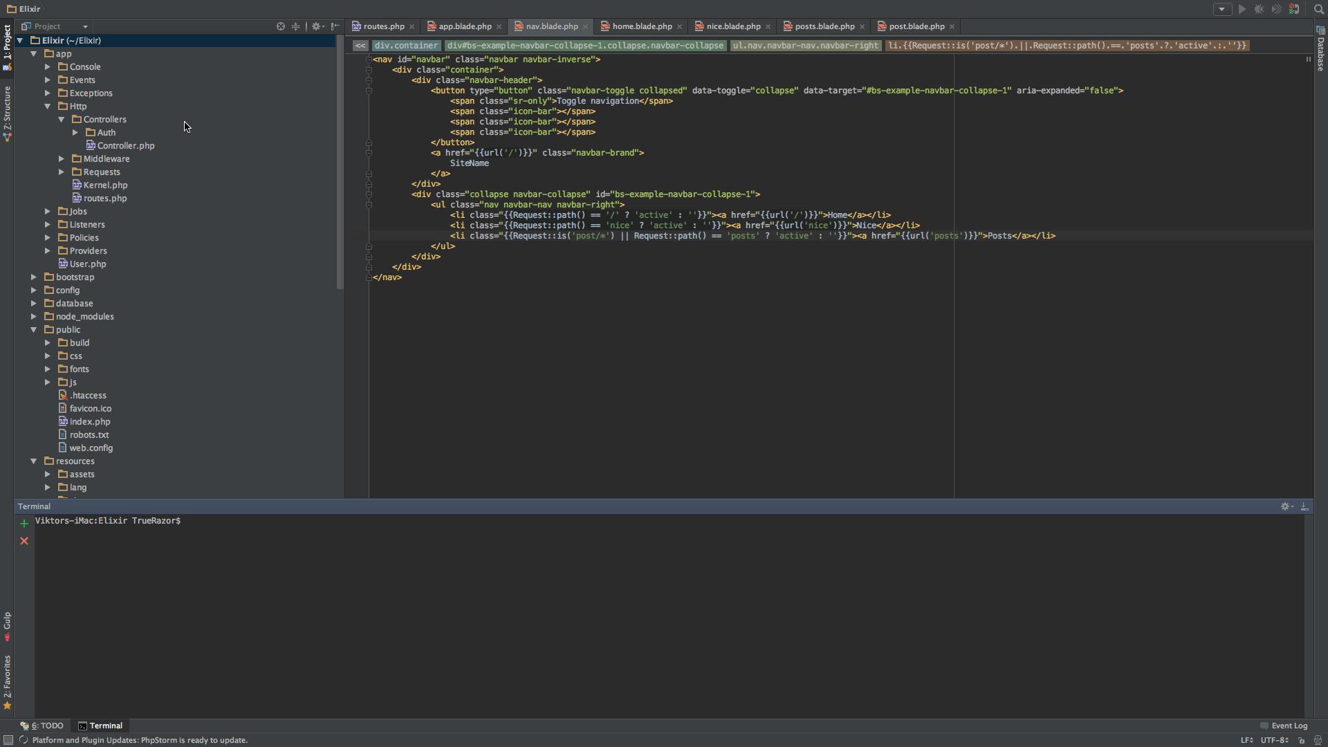 Веб-разработчик Виктор Павлов - Структура шаблонов Blade и активные ссылки меню в Laravel 5.2
