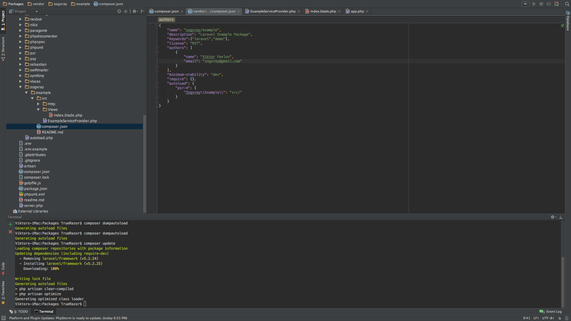 - Пакет Laravel 5.2: создание, деплой, установка